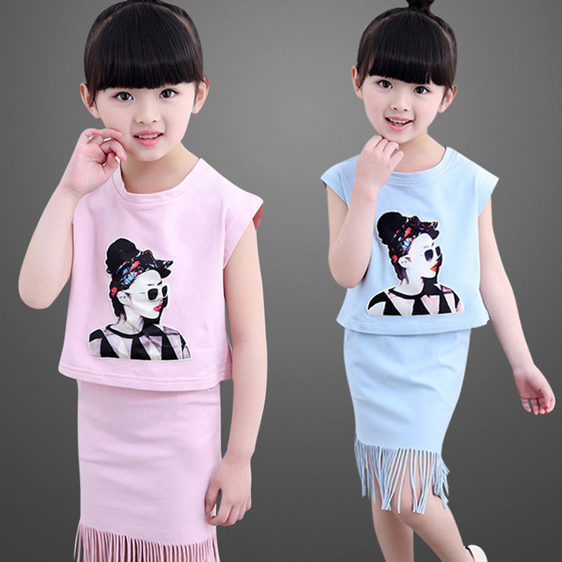 2016 Summer Cute Girls Clothes Baby Girls Summer Short Sleeve T-Shirt Top and skirt 2PCS Kids Girls Children Set free shipping 2017 new style fashion mom and girls short sleeve letter t shirt dot black skirt set summer kids casual clothes parenting 17f222