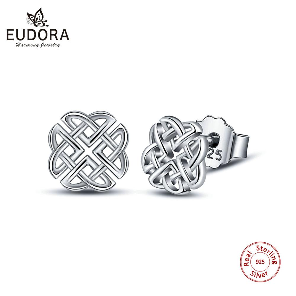 EUDORA Real Genuine 925 Sterling Silver Luck Celtics knot