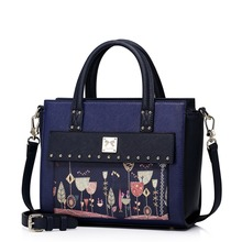 Women City Light Rivets Print Embroidery Blue Leather Convertible Tote Top Handle Bag Cross Body Shoulder Bag Ladies Purse