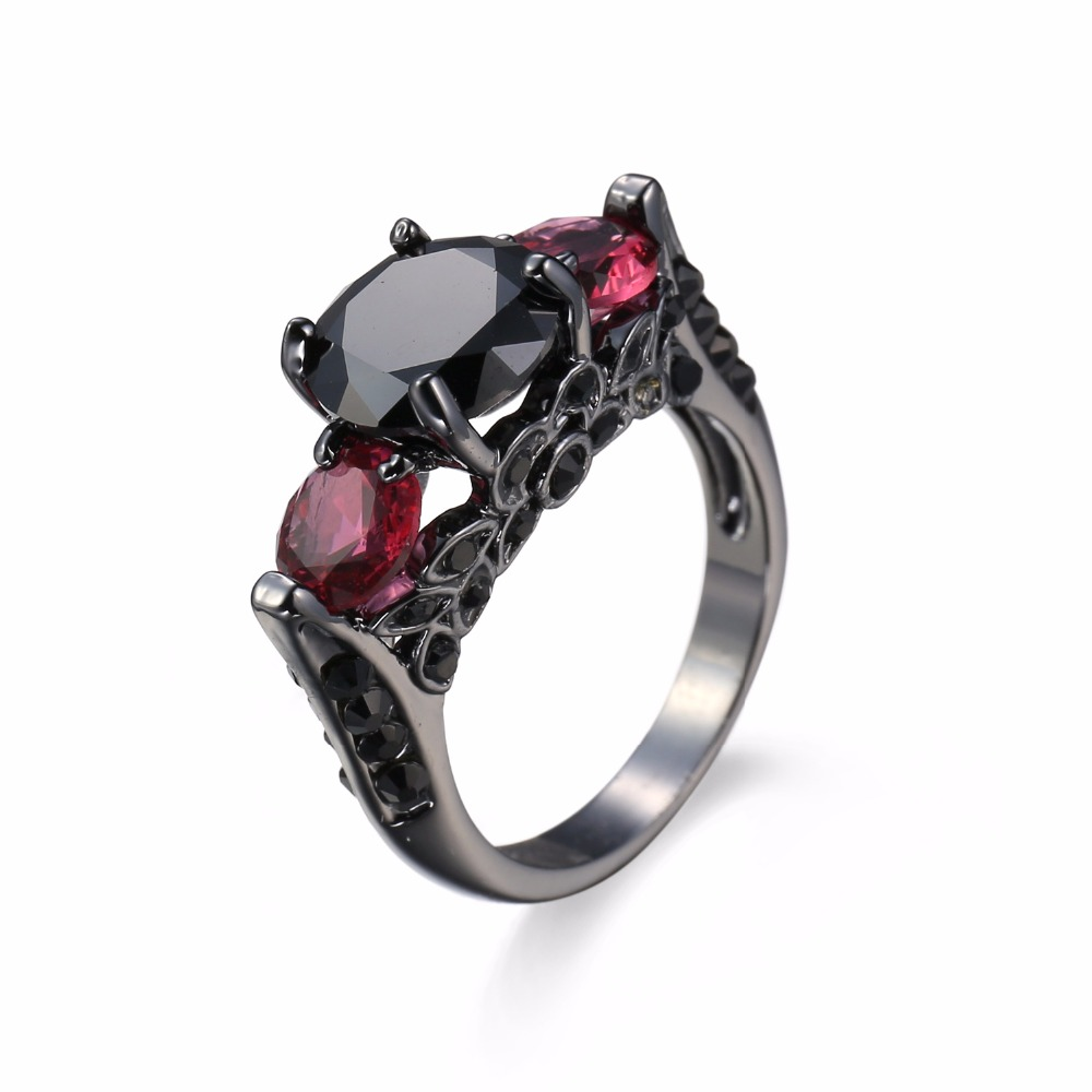 Charming Heart Cut Red Ring Black Cz Fashion Women Wedding Party Jewelry  Black Gold Filled Engagement Rings Bijoux Femme