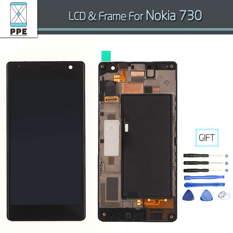 For Nokia Lumia 730 Lumia 735 LCD Display with touch screen digitizer glass panel Assembly with frame Original Replacement+Tools plus size casual loose wide leg pants summer new women s boyfriend spliced holes blue jeans high waist ankle length trousers