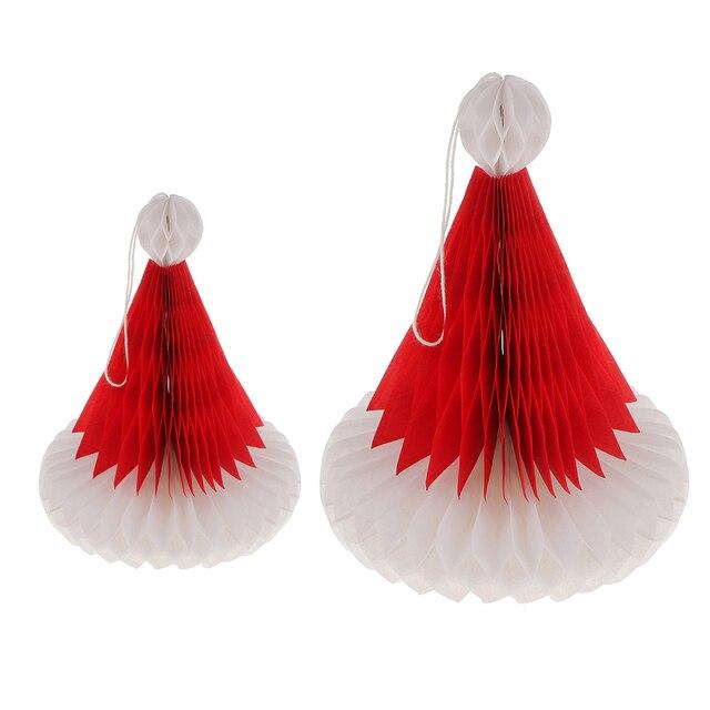 Wholesale 3D Paper Honeycomb Santa Hat Christmas Hanging Table Decorations Ornament 20/24cm Christmas Party Favor Decoration