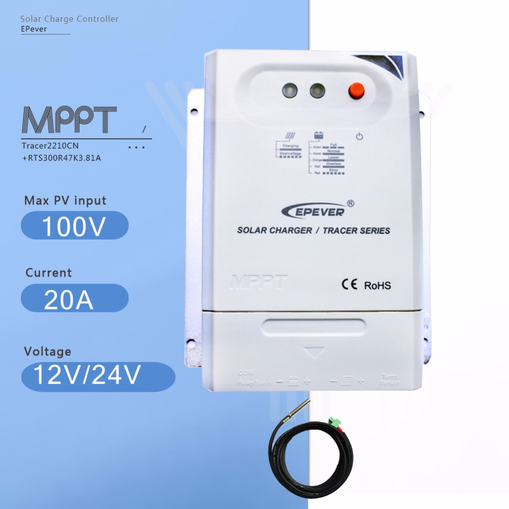 Tracer 2210CN 20A Mppt Solar Charge Controller 12V/24V Auto Solar Panel Battery Charge Regulator with Temperature Sensor 12v 24v 40a mppt pwm solar regulator with lcd display usb intelligent streetlight three time solar charge controller y solar