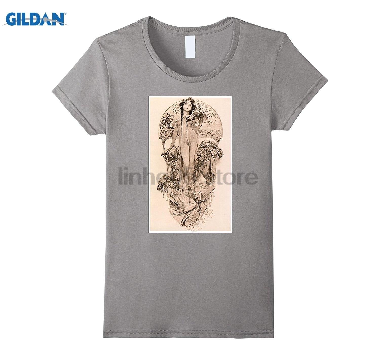 GILDAN Alfons Mucha Art Nouveau Art Deco Beautiful Young Woman Food sunglasses women T-shirt