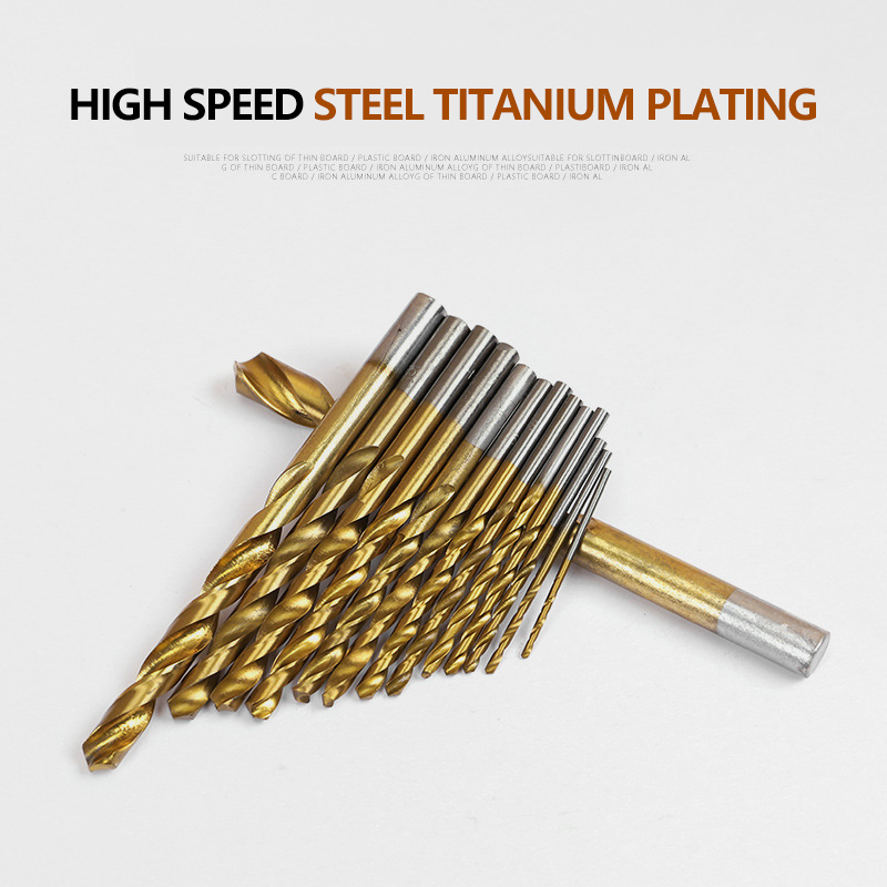 99PCS HSS Twist Drill Bit Set 1 5 10mm Titanium Coated Surface 118 Degree For Drilling Metal DIY Home Use With Box in Drill Bits from Tools