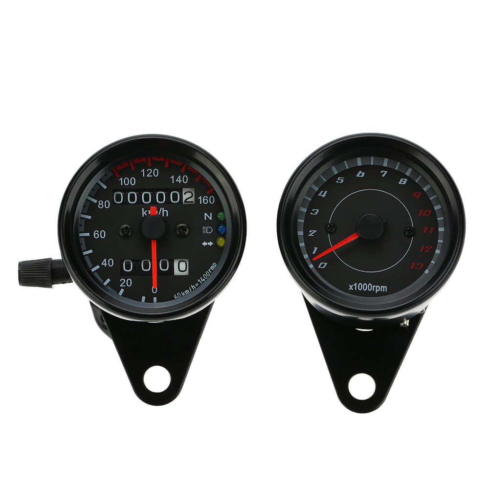 12v Motorcycle 13000 Rpm Tachometer Km/h Speedometer Dual Odometer Gauge With Led Backlight Signal Lights Be Friendly In Use