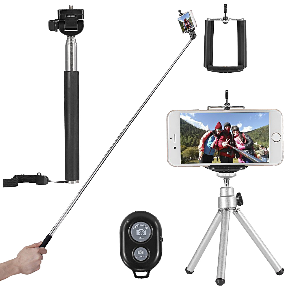 Selfie Stick Kit 4 in 1 Clip Phone Bluetooth Tripod Tripod Mini 3COLOR