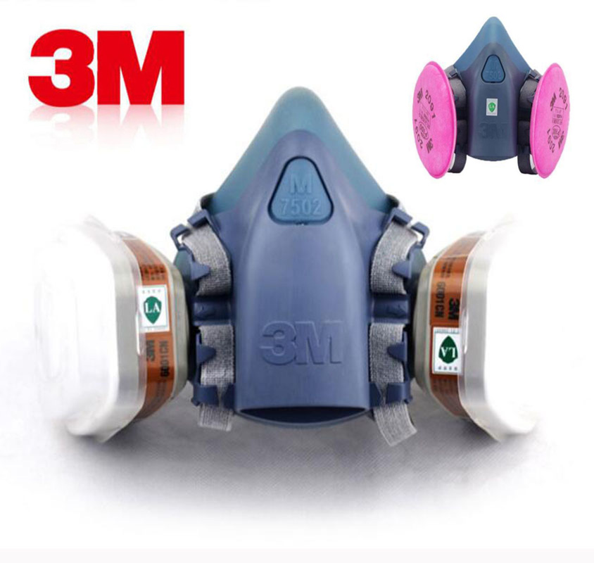 3M 7502 Painting Spraying Gas Mask Chemcial Safety Work Gas Mask Proof Dust Facepiece Respirator Mask With 3M Filter 9 in 1 suit gas mask half face respirator painting spraying for 3 m 7502 n95 6001cn dust gas mask respirator