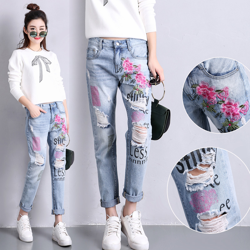 2017 new vintage retro high waist   jeans   women denim flower pencil pants designer embroidered   jeans   plus size