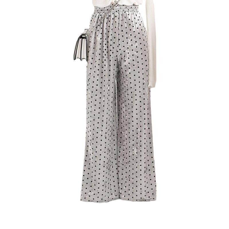 Polka Dot Velvet High Waist   Wide     Leg     Pants   Women 2018 Autumn Casual Female   Pants   Fashion Streetwear Loose Elastic Waist Trousers