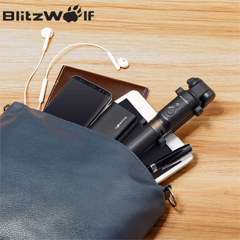 BlitzWolf BS3 Wireless bluetooth Selfie Stick Mini Tripod Extendable Foldable Monopod For iPhone For Samsung Xiaomi Huawei Phone 6