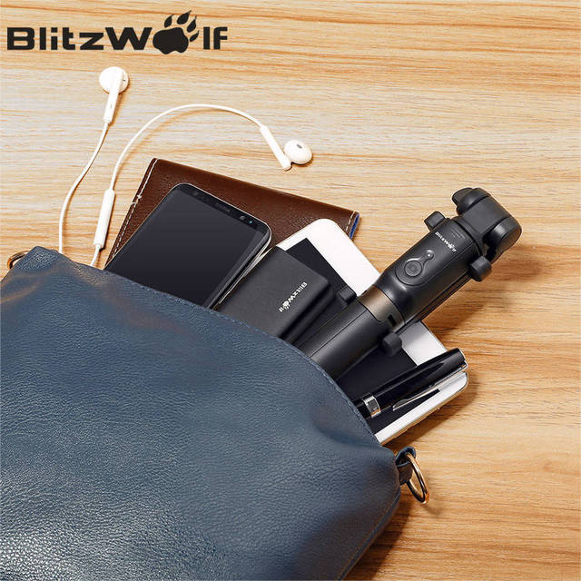 BlitzWolf BS3 Wireless bluetooth Selfie Stick Mini Tripod Extendable Foldable Monopod For iPhone For Samsung Xiaomi Huawei Phone 5