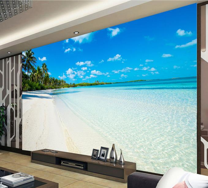 3D photo wallpaper custom 3d wall murals wallpaper mural The Mediterranean beach sea scenery sitting room background wall paper custom baby wallpaper snow white and the seven dwarfs bedroom for the children s room mural backdrop stereoscopic 3d