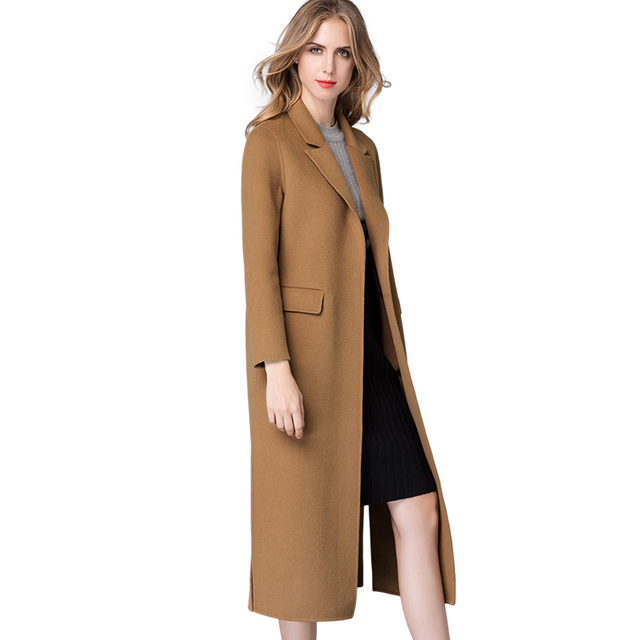 3266912bff5 Women s Long Coats Autumn Winter Wool Coat Cashmere Jacket 2017 Camel Army  Green Vintage Ladies Jackets