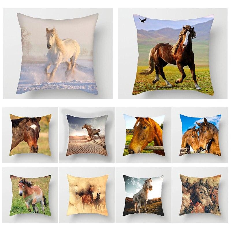 Fuwatacchi Cavalo Capa de Almofada Pintura Selvagem Pastagens Cavalo Almofadas Capa Fronha Home Decor Acessório Caso Travesseiro
