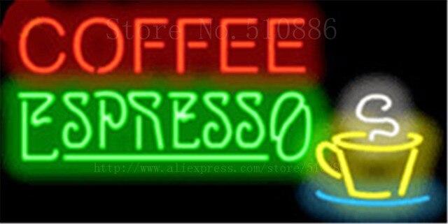 """Benutzerdefinierte Leuchtreklame Für Kaffee Espresso Real Glasrohr Display Licht lampe Dekorative Bar Bier Club Decor Lampen Neon Signs 19 """"x 15"""""""