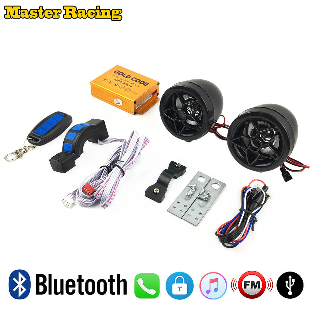 Motorcycle Bluetooth Audio Sound System Scooter Speakers FM Radio MP3 Music Player Motor Anti-theft Security Alarm USB Charger bluetooth