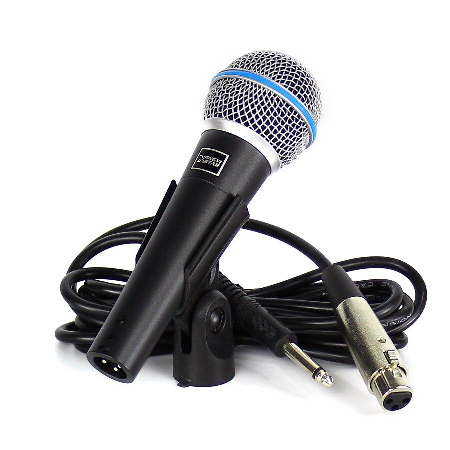 Beta 58A Microfono Professionnel Vocal Dynamique Mic Filaire De Poche Karaoké Microphone Pour L'enregistrement Vidéo et 6.5mm Jack Audio Câble