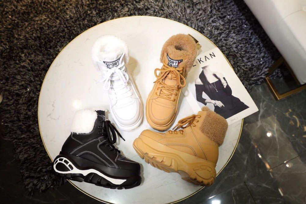Shop cheap Retro Platform Sneakers Boots Leather Casual Sports Shoes on sale