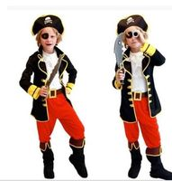 2017 New Halloween Kids Children Boy Pirates Of The Caribbean Captain Cosplay Fancy Dress