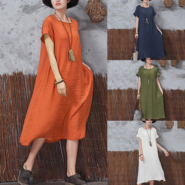 Casual Summer Women Loose Dresses Solid Color Short Sleeve Linen Square Neck Loose Cotton Bodycon Dress Big Size 5XL