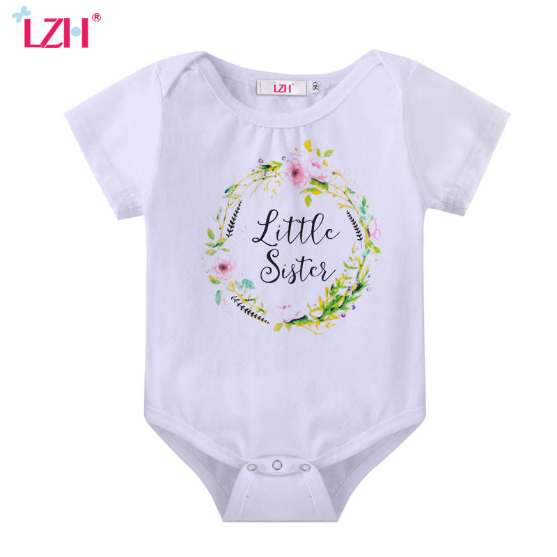 LZH 2017 Summer Newborn Clothes Baby Boys Girls Romper Cotton Floral/Letter Print Jumpsuit Rompers Baby Costume Infant Clothing cotton i must go print newborn infant baby boys clothes summer short sleeve rompers jumpsuit baby romper clothing outfits set