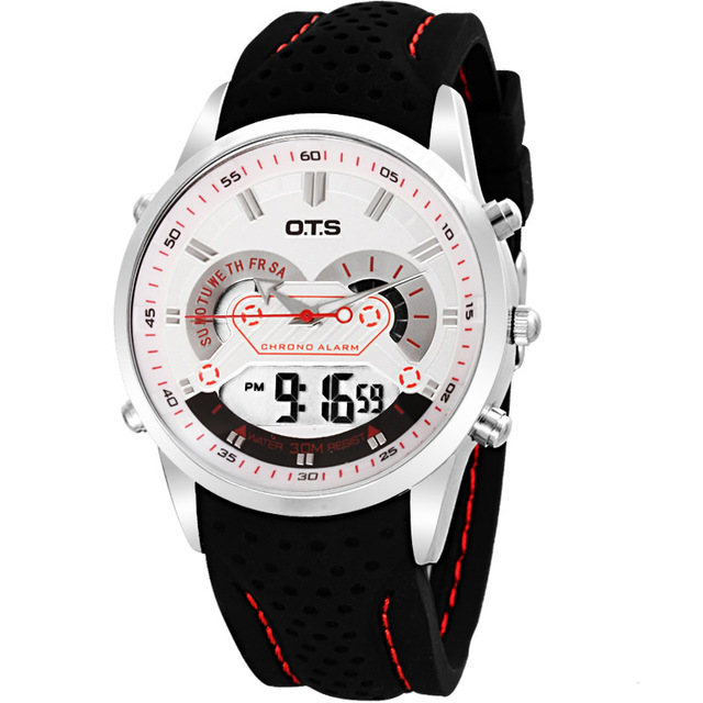 OTS Outdoor Sport Man Stopwatch horloges mannenFashion&Causal Silicone Strap LED Digital ...