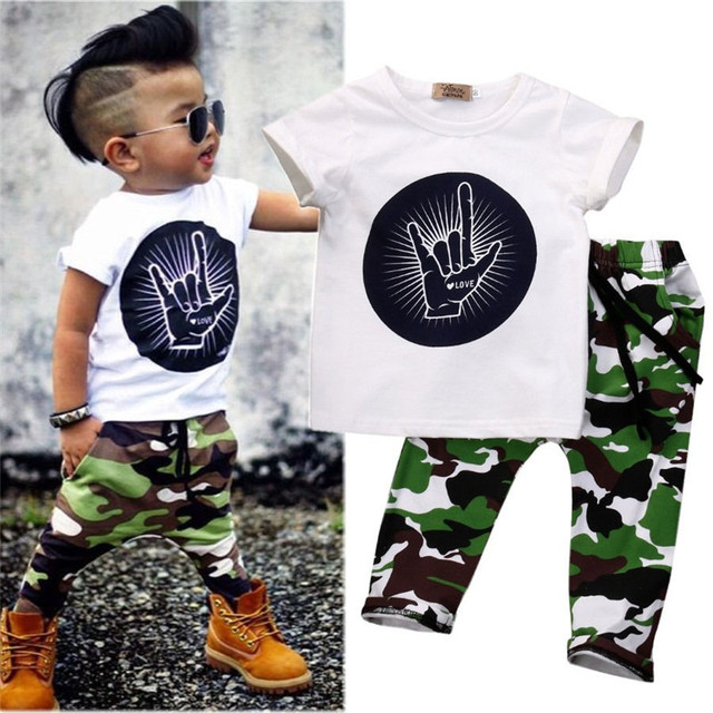 6416b3e22 Casual Toddler Baby Kids Boys Clothes Set T-shirt Love You Gesture Cute Tops  And Camouflage Pants Outfits Sets For Summer