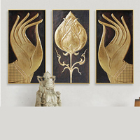 hand painted buddha hands with lotus flower gold foil zen oil painting Artworks asian style Living Room Decor canvas for