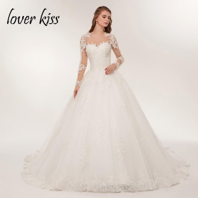 Amant Baiser Mariée robe Dentelle de Luxe Sheer Tulle Manches Longues robe de Mariée 2018 Perlée Mariage robe Robes de Mariée robe de noiva