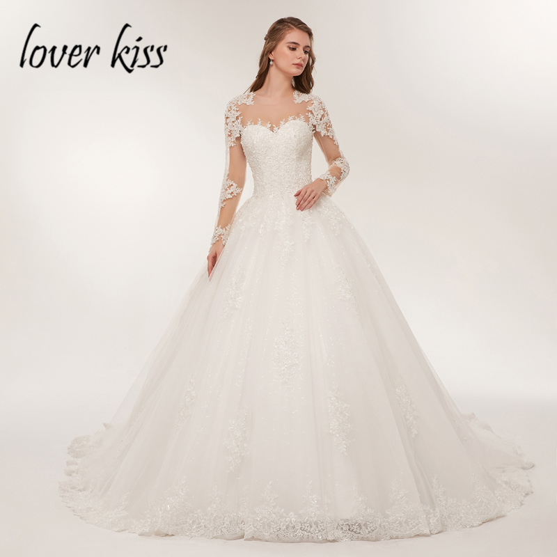Amante Beijo Sheer Tulle Manga Comprida vestido de Noiva Vestido de Rendas de Luxo Vestido de Noiva 2019 Frisada robe de Mariage Vestidos de Noiva vestido de noiva
