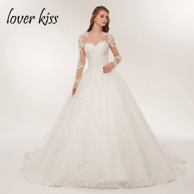 Bride Dress Lace Luxury Sheer Tulle Long Sleeve Wedding Dress Beaded Mariage robe Bridal Gowns vestido de noiva