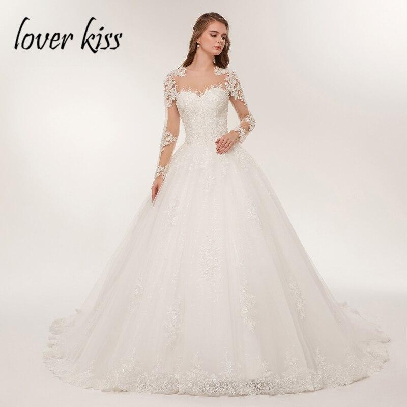 Lover Kiss Bride Dress Lace Luxury Sheer Tulle Long Sleeve Wedding Dress 2019 Beaded Mariage robe Bridal Gowns vestido de noiva