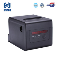 Waterproof Oilproof 80mm Thermal Bill Ethernet Receipt Printer With Cutter LED Beeps High Speed For Restaurant Online Printing