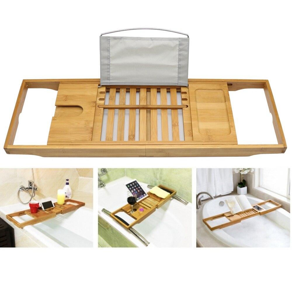 Bamboo Bathtub Tray Shower Wine Glass Book Holder Bathtub Rack Support Bathroom Storage Organization Bath Accessories