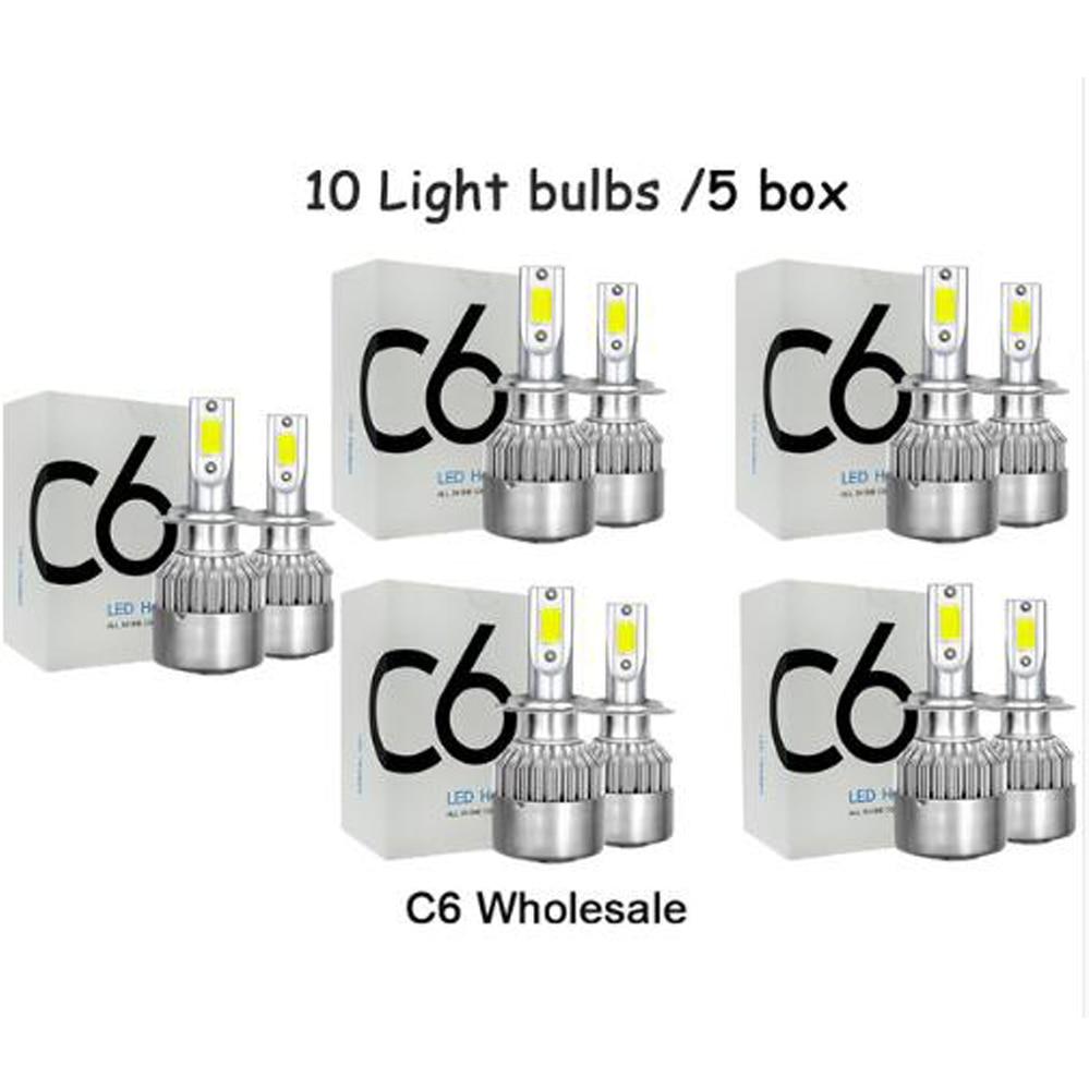 C6 оптовая продажа автомобильных ламп H7 LED H4 9003 HB2 H11 LED H1 H3 H8 H9 880 9005 9006 H13 9004 9007 Автомобильные фары 12 В светодиодные лампы