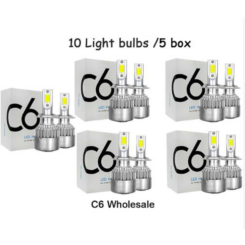 C6 Wholesale Car Lights Bulbs H7 LED H4 9003 HB2 H11 LED H1 H3 H8 H9 880 9005 9006 H13 9004 9007 Auto Headlights 12V Led Light