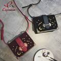 New arrival charm fashion design shoulder bag ladies handbag flap metal badges moon stars mini crossbody messenger bag purse