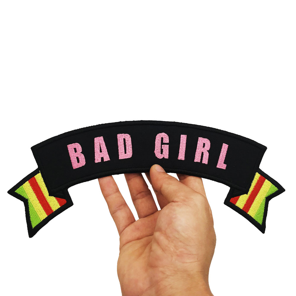 BAD GIRL LADY BIKER FOR LIFE FRANCE SPAIN Vietnam War Vet Rocker Patch Embroidered in Patches from Home Garden