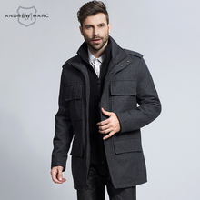 ANDREW MARC 2016 Men Wool Coat Winter Autumn Man Woolen Jackets Overcoat Casual Stand Collar Middle Long Section TM6UW209