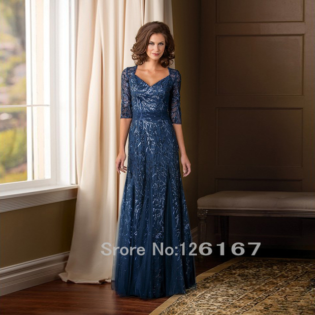 Half Sleeves  Sequins Mother Of The Bride Dresses 2017 New arrival Long Mother dresses woman Evening Dress Formal Gowns CGM005