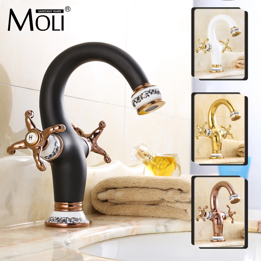 Luxury chinese style bathroom sink faucet soild brass dual handle single hole faucet oil-rubbed bronze gold finish water tap