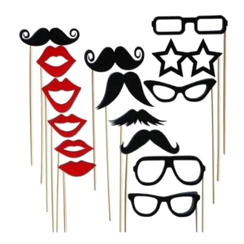 15pcs Photo Booth Props Funny Single Kid DIY Red Lips Black Paper Beard Frame On A Stick Wedding Favor Brithday Party Supplies
