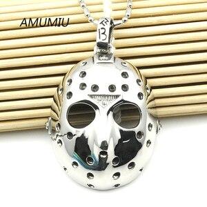 Ожерелье с подвеской AMUMIU из нержавеющей стали, ожерелье с подвеской-маской, мужское байкерское украшение HZP016