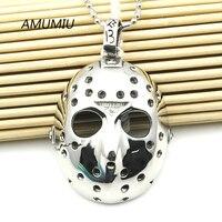 AMUMIU Stainless Steel Jason Hockey Mask Pendant Necklace Men S Biker Jewelry HZP038