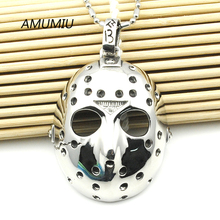 AMUMIU Stainless Steel Jason Hockey Mask Pendant Necklace Men's Biker Jewelry HZP016