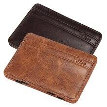 Роскошный мини-кошелек тонкие кошельки мужские бумажники нейтральный магический двойной кожаный кошелек держатель для монет тонкий кошелек для монет сумка мужская