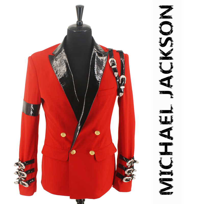 New MJ Michael Jackson BAD Casual Award Ceremony Red Suit Blazer Punk Buckle Cool Jacket