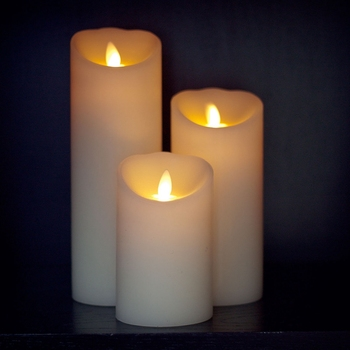 Ksperway Flameless Moving Wick LED Candles with Timer and Remote 3pcs/set Ivory