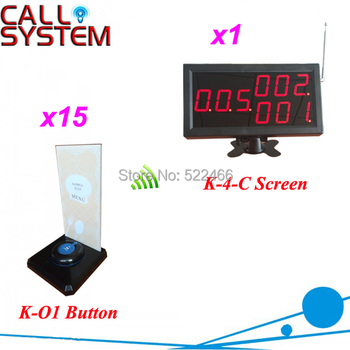 Waiter Caller System for restaurant services with 15 transmitter button and 1 number display, Shipping Free